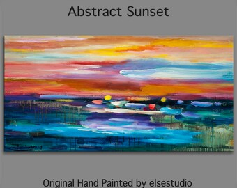 """Huge original Oil painting Modern deco Impasto Texture Abstract Sunset Painting 48"""" x 24"""""""
