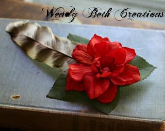 Simple Red Orange Gardenia with Turkey Feather - Cruelty Free Feather - Hair Art Fascinator Clip