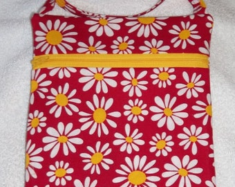 Handmade Floral  Daisies on Red Sling Bag, Cross Body Bag, Hipster, Travel Bag