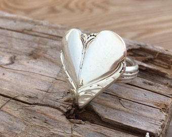 Spoon Heart Ring - Handmade Ring - Upcycled Spoons - Promise Ring - Size 8.0 - Avalon (3890-LV)