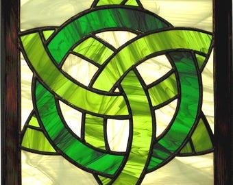 "12"" X 12"" Stained Glass ""Celtic Knot"" Square Mandala Pattern PDF B&W Digital Download"