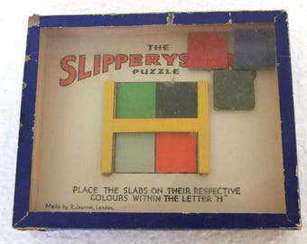 "Vintage Glass Front R. Journet The ""Slipperyslaps"" Puzzle"