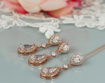Crystal drop pendant Rose Gold, kate Middleton style wedding earrings, cubic zirconia, prom jewelry, blush colour wedding, gift for her,