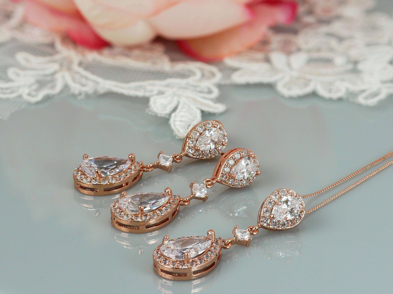 Crystal drop pendant Rose Gold kate Middleton style wedding