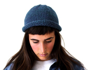 Hand Dyed Indigo Fisherman Beanie, rolled brim knit hat in pure wool, Westlake designs