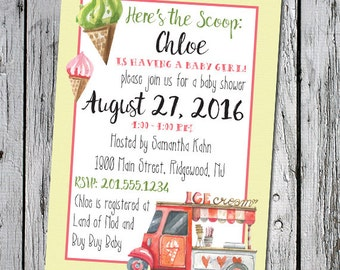 Here's the Scoop Ice Cream Social Baby Shower theme - 5 x 7 printable printer ready invitation invite - custom