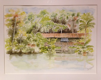 Watercolor, Amazon, rainforest, escape