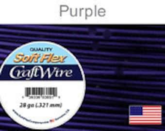 28 Gauge Purple Soft Flex Wire, Round, Non Tarnish, Supplies, Findings, Craft Wire