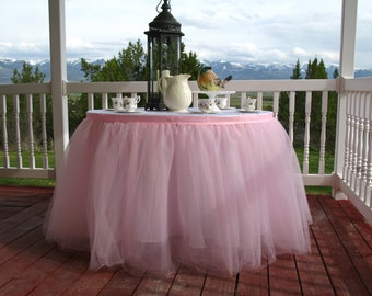 Pink Tulle Table Skirt, Tutu Tableskirt for Wedding, Birthday, Princess Party, Baby Shower - Custom Size , Made to Order