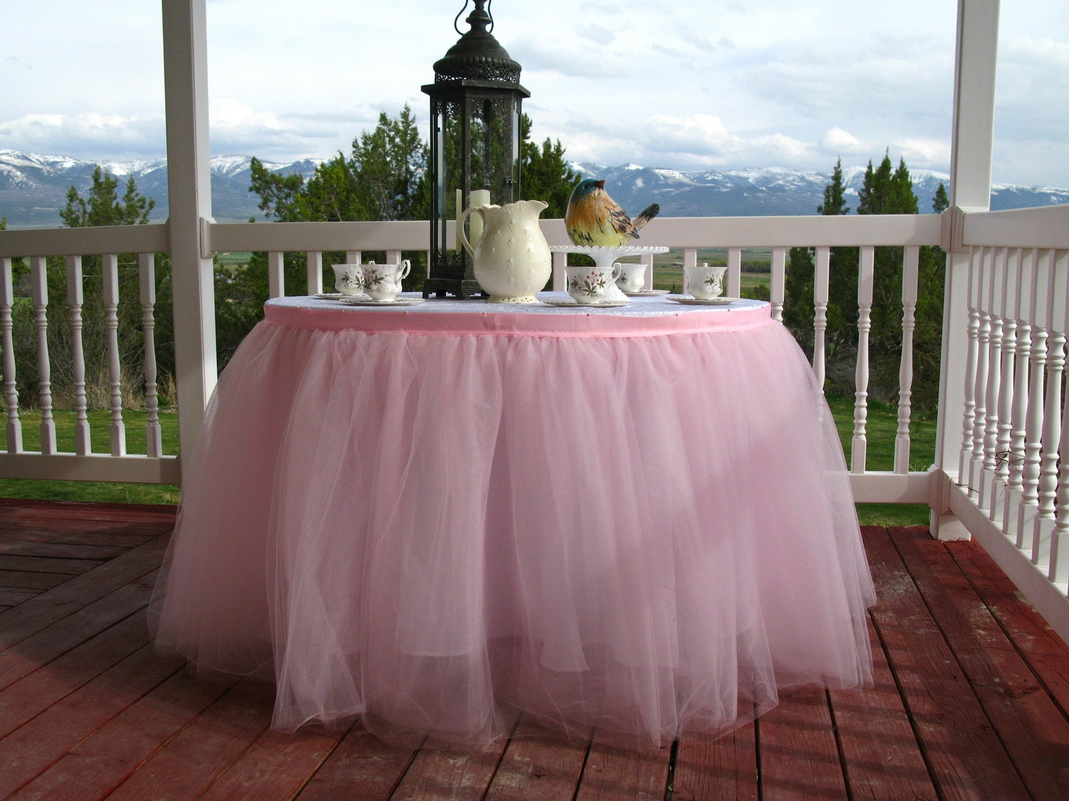 Pink Tulle Table Skirt Tutu Tableskirt For Wedding Birthday