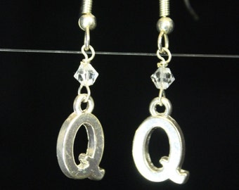 Personalized Initial Earrings Letter Q