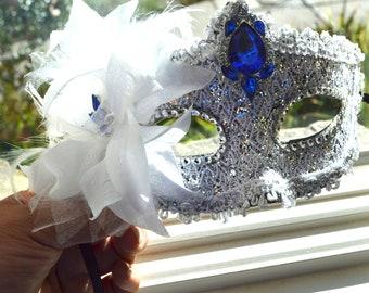 White Masquerade Bridal Mask, Mascarade mask, Blue mask, lace mask, mardi gras mask, costume mask, sweet 16 mask, halloween. bridal mask