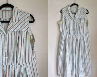 vintage 1950s dress - BEA YOUNG striped shirtwaist dress / XL (as is)