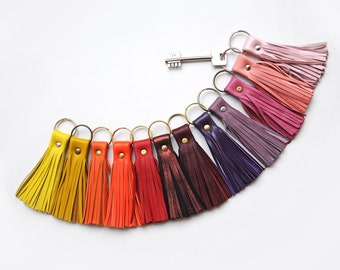 Leather Tassel Key chain, Yellow, Orange, Red and Pink colors