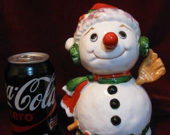 "Free Shipping! Rare Large Brinns SNOWMAN MUSIC BOX 7.5"" Bone China Christmas Figurine Vintage 1970 Play Jingle Bells Holiday Decoration 1290"
