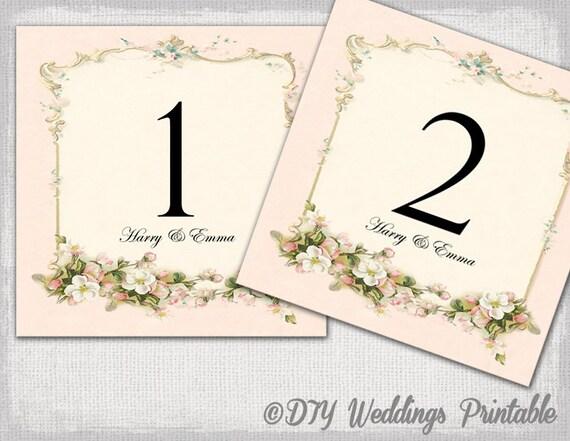 Printable Table Numbers Template Diy Pink Wedding Number Card