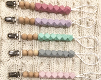 Baby shower, Hexagon silicone teething pacifier clips with beech wood beads
