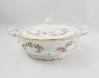 "Royal Albert ""Dimity Rose"" Covered Vegetable Dish, Serving Dish, Vintage Royal Albert, Tureen"