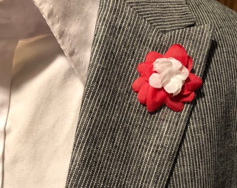 Red and White Layered Lapel Flower Button