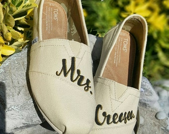 Custom Painted Bridal Wedding TOMS Shoes *Free Shipping* - Bride TOMS - Personalized - Wedding Shoes - Painted Shoes - Glitter - Custom TOMS