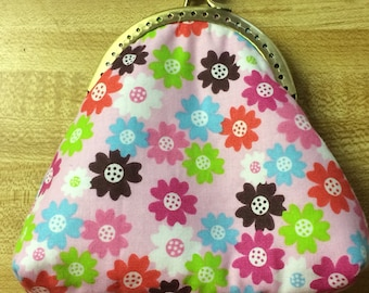 Pink with Flowers Kiss Lock Coin Purse