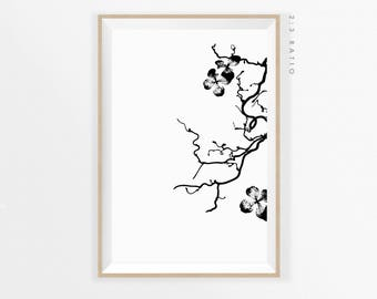 BOTANICAL MODERN PRINT, Flower Black and White Wall Art Printable, Botanical Contemporary Flower, Minimalist Art Flower, Digital Download