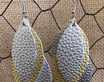 Silver & Gold Metallic Layered Leather Earrings (large)