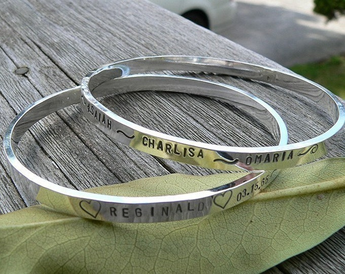 Solid Sterling Silver Bangle - Thick and Strong - Hand Stamped Inside and/or Outside - Your Own Message - Phrase - Many Fonts - Any Size