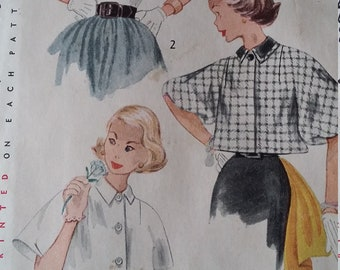 Set of Jackets Incl. Short and Waist-Length Cape Sleeves Size 14  All 11 Pieces Vintage 50s Simplicity Sewing Pattern 3776
