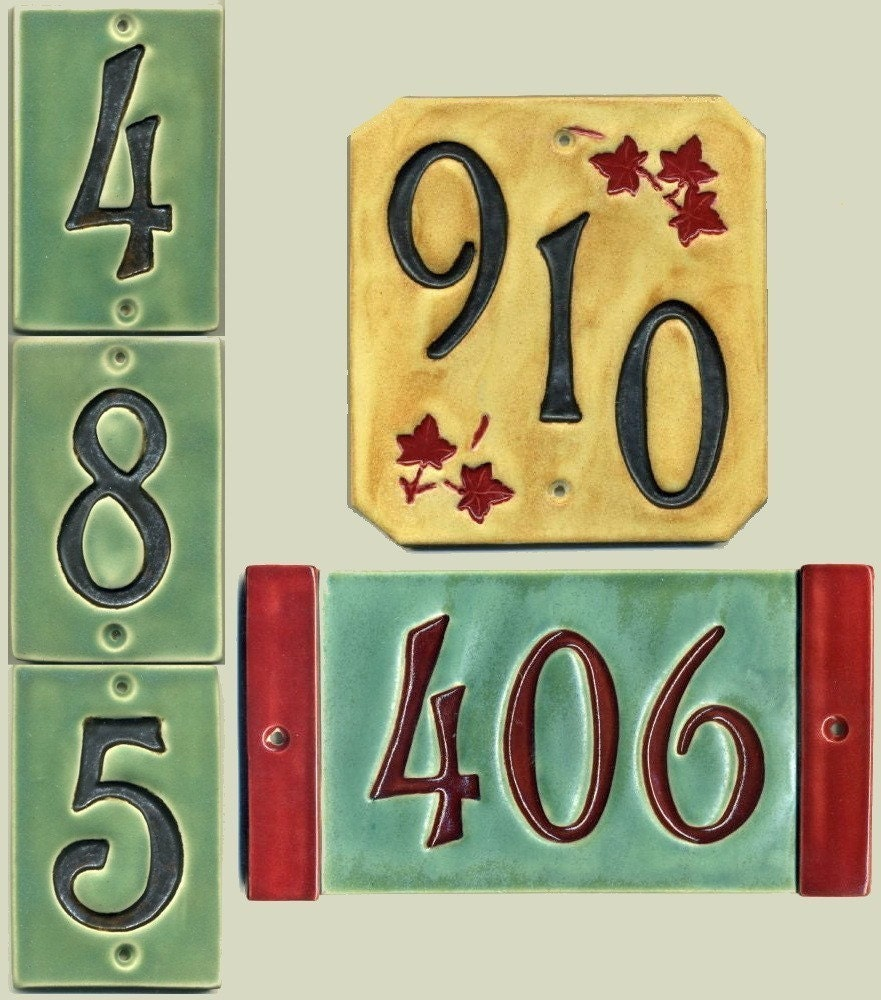 Handcrafted three digit ceramic house number tile address zoom dailygadgetfo Gallery