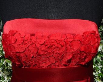 Vestido largo rojo de raso duquesa de seda y Tul con flores, vestido de noche largo