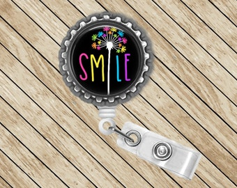 Smile, Dandelion, ID Badge Reel, Retractable, Badge Holder, Badge Reel, Badge Clip, Nurse Gift, Cute Badge Reel, Bottlecap Badge, Reel