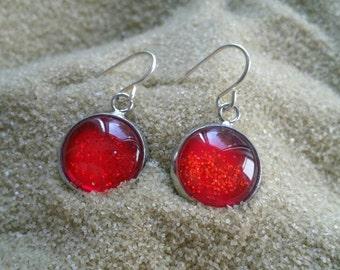 Red Handpainted Earrings, Nail Polish Earrings, Glitter Earrings, Sparkly Earrings, Hypoallergenic, Nailpolish Earrings, Boho Earrings