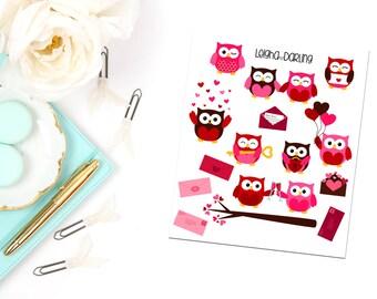 Valentine/Love Mail Owl Planner Stickers