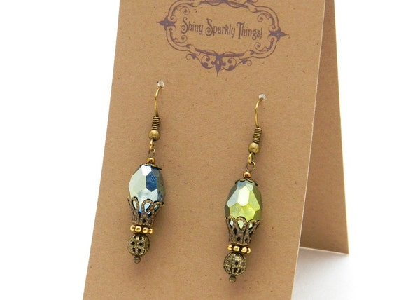 Pretty olive green glass bead earrings with filigree - special holiday price! gifts under 10 SST3113