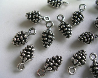 Pine Cone Charms 3D Silver Charms Antiqued Little Pine Cones Cute Double Sided Dangles Charms Forest Tree 20 Charms Bushy Tails