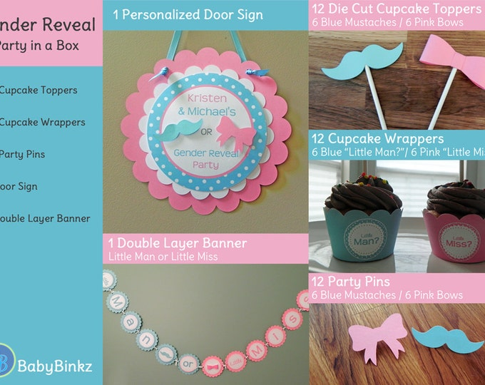 Gender Reveal Party in a Box - Little Man or Little Miss Decoration Package Set die cut bow mustache blue pink cupcake photo prop pin game