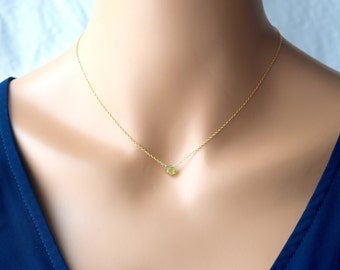 Pantone Color of 2017 / Peridot necklace / 14kt gold fill / 14kt gold filled / minimalist lifestyle / August birthstone / female empowerment