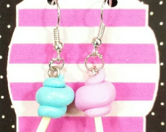 Cotton candy pink and blue earrings