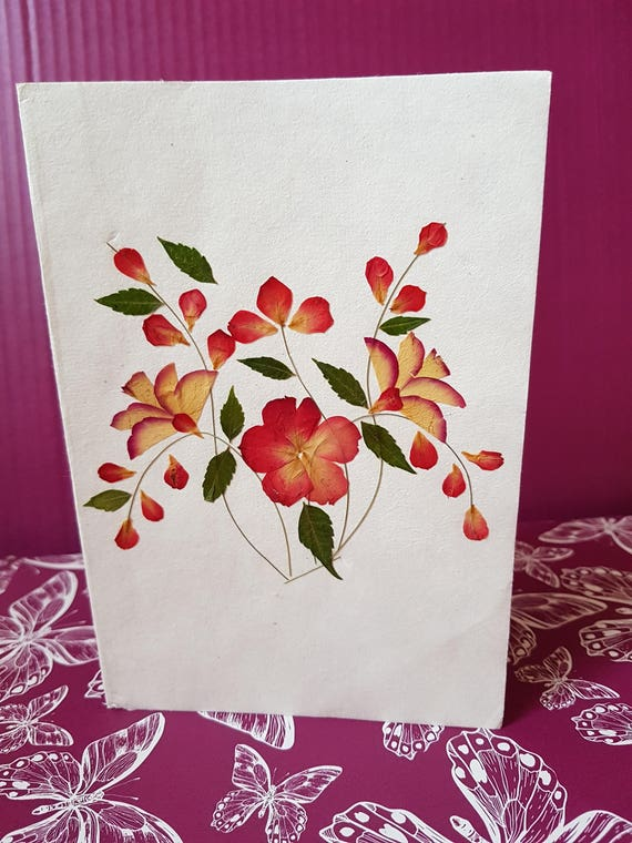 Handmade blank pressed flower card vase design