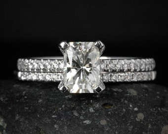 Radiant Cut Moissanite Engagement Ring - Forever Brilliant - Half Eternity Diamond Band