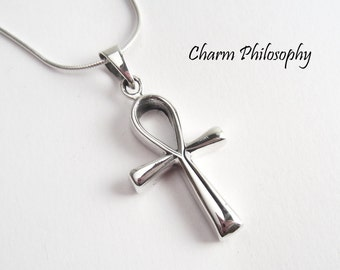 "Sterling Silver Ankh Necklace - Egyptian Hieroglyph Jewelry Meaning ""Life"""