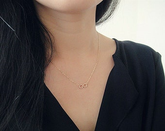 Gold Infinity Necklace, Hammered Infinity Necklace, Tiny Infinity Necklace, Tiny Hammered Infinity Charm, Figure 8 Necklace, Minimalist