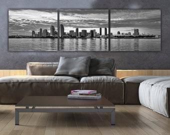 San Diego Skyline on Canvas, B&W Large Wall Art, San Diego Print, San Diego art, San Diego Photo, San Diego Canvas, San Diego Panoramic