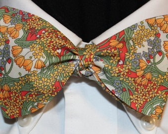 DELICATE BLOSSOMS Bow Tie: Liberty of London cotton, self tie, handmade in your size, for well-dressed men and women; florals