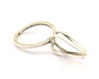 Claw Ring Settings, 2 Antique Silver Plated Brass 4 Claw Ring Blanks for Natural Stones N118 H431