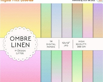 80% Until New Year - Ombre Linen digital paper: linen background with pastel rainbow colors scrapbook paper for any creative project · print
