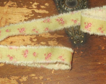 Tattered Tea Stained Fabric Ribbon Pink Petite Tiny Rosebuds on Shabby Green  Rare fabric