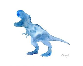 Blue Dinosaur Art, original watercolor painting, t-rex, nursery art, animal art, dinosaur painting, dino, nursery wall art, boys room, kids