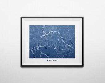 Asheville, North Carolina Abstract Street Map Print
